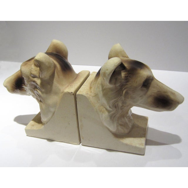 Figurative 1950s Vintage Ceramic Dog Bookends - A Pair For Sale - Image 3 of 13
