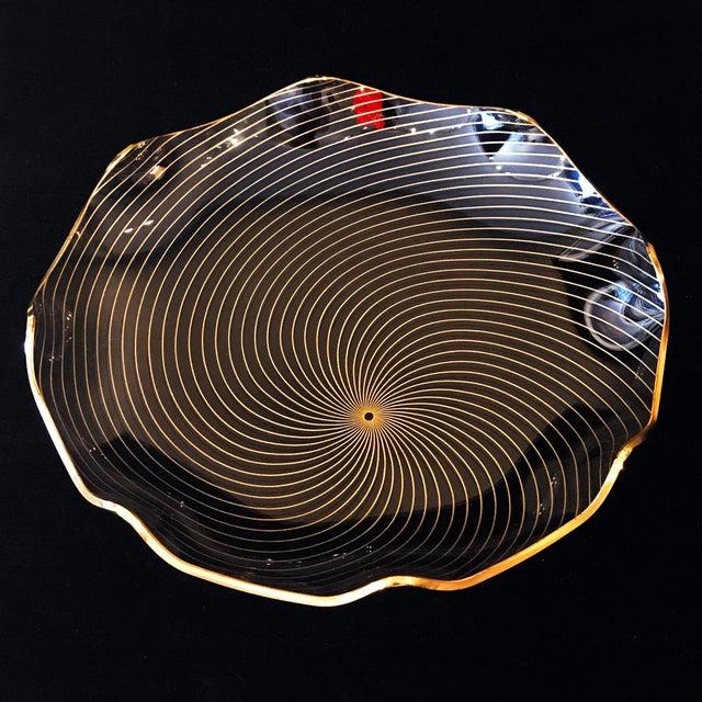 Mid-Century Modern 1960s Op Art Mf Crystal Denmark Gold Filagree Spiral Bent Glass Platter For Sale - Image 3 of 8