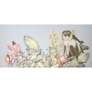 """The Locals"" Monkey Painting in Chinoiserie Style by Allison Cosmos For Sale"