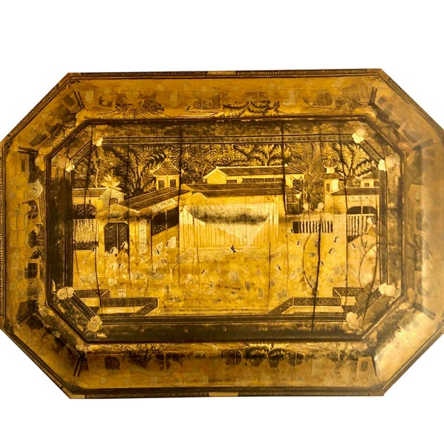 19th Century 19th Century Chinese Black Lacquer Work Box For Sale - Image 5 of 11