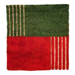 Maisa Kaarna Red and Green Finnish Ryijy Textile For Sale