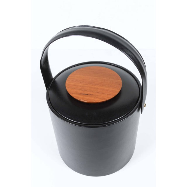 Mid-Century Modern Vintage Georges Briard Black Ice Bucket With Cover For Sale - Image 3 of 8