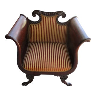 Victorian Mahogany Upholstered Arm Parlor Chair