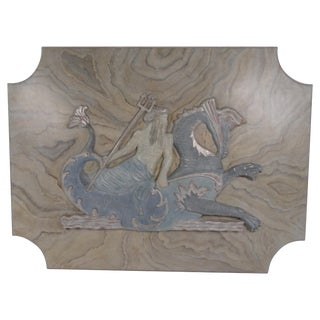 20th Century Painted Faux Marble Carved Wood Plaque of Poseidon For Sale