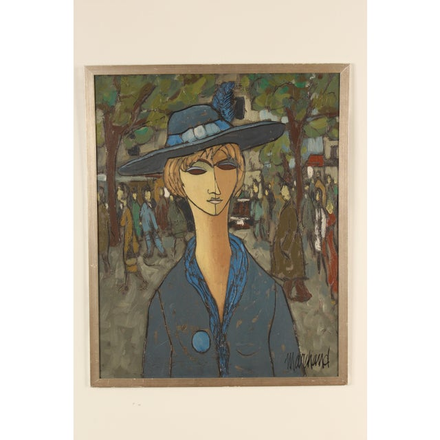 Painting of a Lady in Blue by Philippe Marchand For Sale - Image 13 of 13