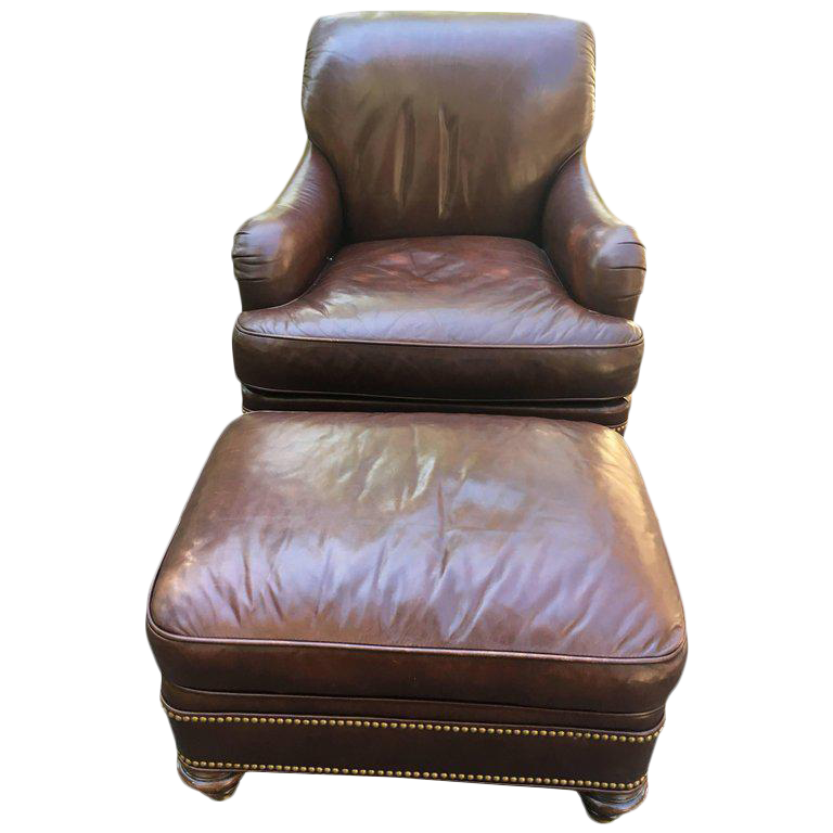 Sumptuous Chocolate Brown Leather Club Chair U0026 Ottoman   A Pair   Image 1  ...