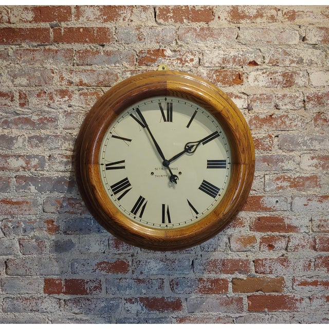 """1900s Seth Thomas 30 Days 24"""" Oak Gallery Clock For Sale - Image 10 of 10"""