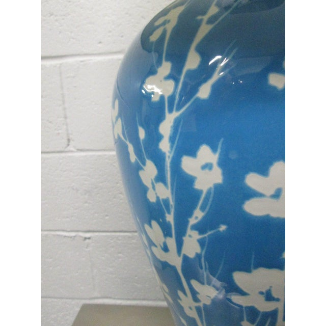 1960s Pair Blue Ceramic Floral Lamps For Sale - Image 5 of 6