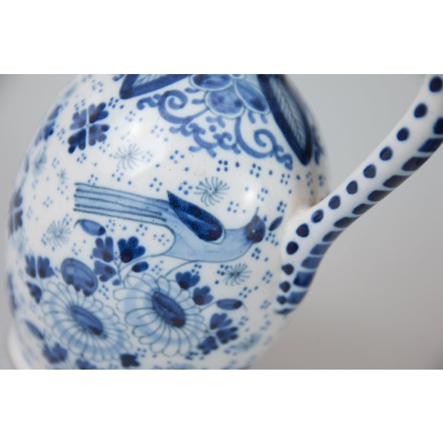 Ceramic Antique Dutch Delft Faience Bird Floral Pitcher For Sale - Image 7 of 9