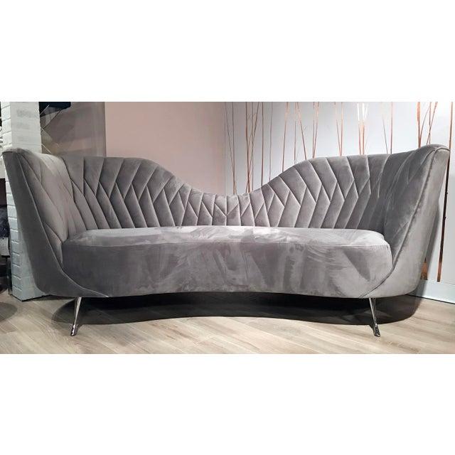 Modern Grey Velvet Sofa Italian Modern Style