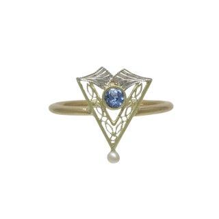 1900s Vintage Edwardian 14k Gold Filigree Sapphire Ring For Sale