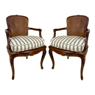 Pair of Caned French Style Bergere Chairs For Sale