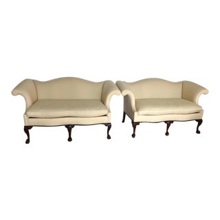Southwood Chippendale Style Camel Back Mahogany Ball and Claw Loveseats - a Pair For Sale