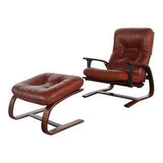 1970s Vintage Westnofa Design Chair & Ottoman For Sale