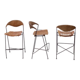Set of Three Low Wrought Iron Arthur Umanoff Bar Stools For Sale