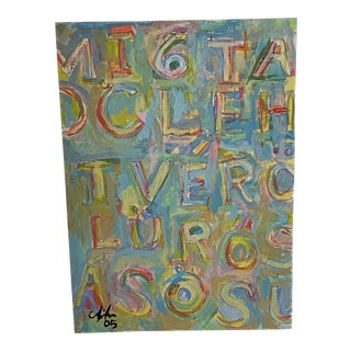 Contemporary Abstract Text Painting, Artist Signed and Framed For Sale