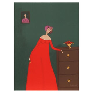 Branko Bahunek - Woman With Apples Lithograph For Sale