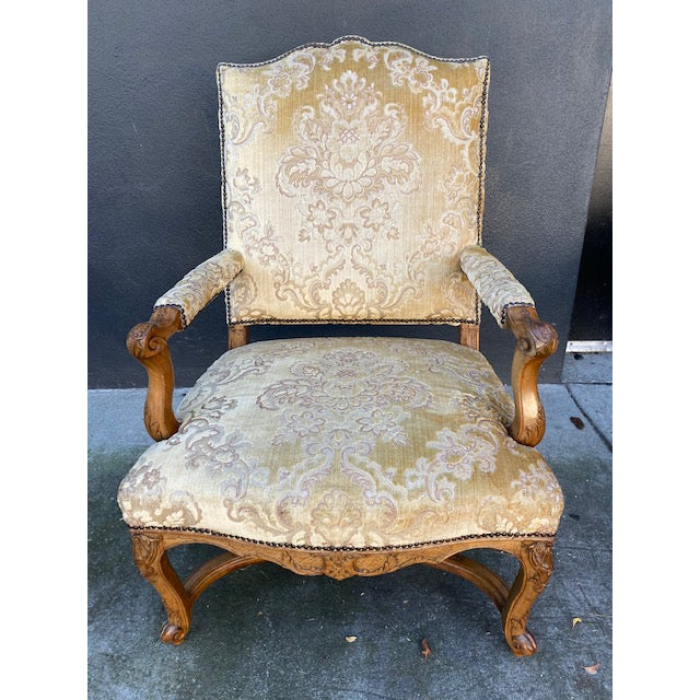 Single 18th C. French Regence Walnut Carved Arm Chair