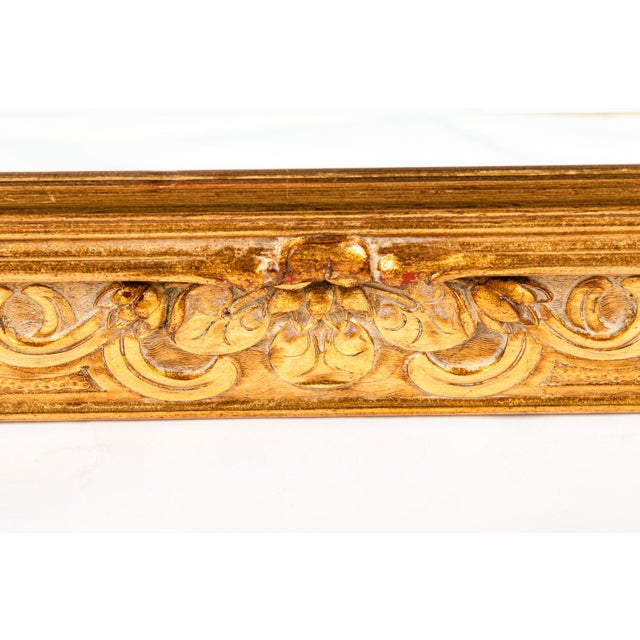Glass Vintage Italian Gilded Wood Framed Hanging Bevelled Mirror For Sale - Image 7 of 10
