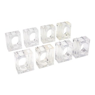 Vintage Lillian Vernon Lucite Vase Napkin Rings - Set of 8 For Sale