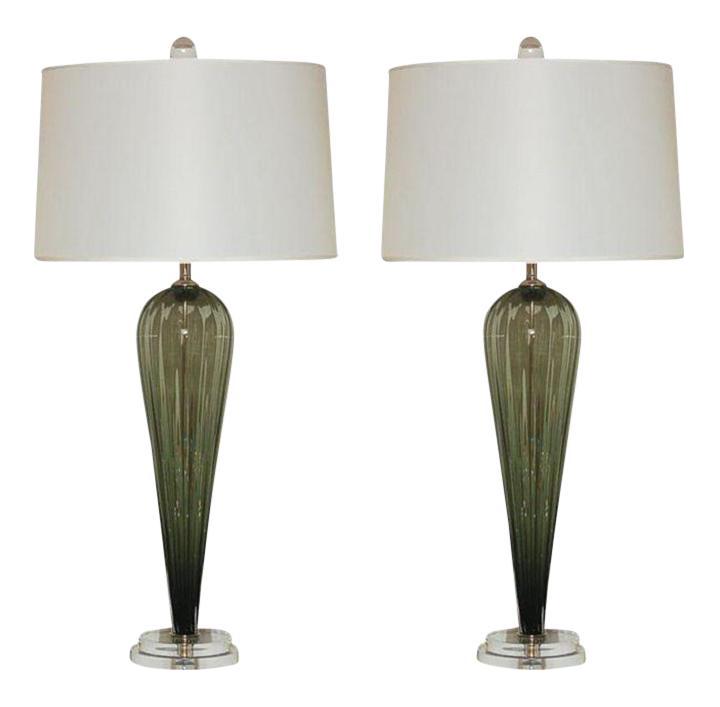 Incredible Joe Cariati Glass Table Lamps Olive Green Decaso