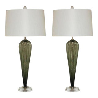 Joe Cariati Glass Table Lamps Olive Green For Sale