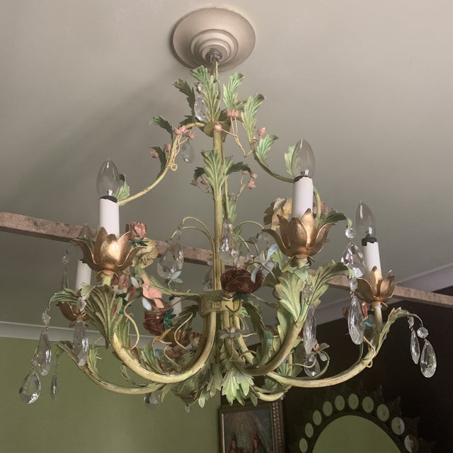 Green Iron Floral Chandelier For Sale - Image 11 of 13