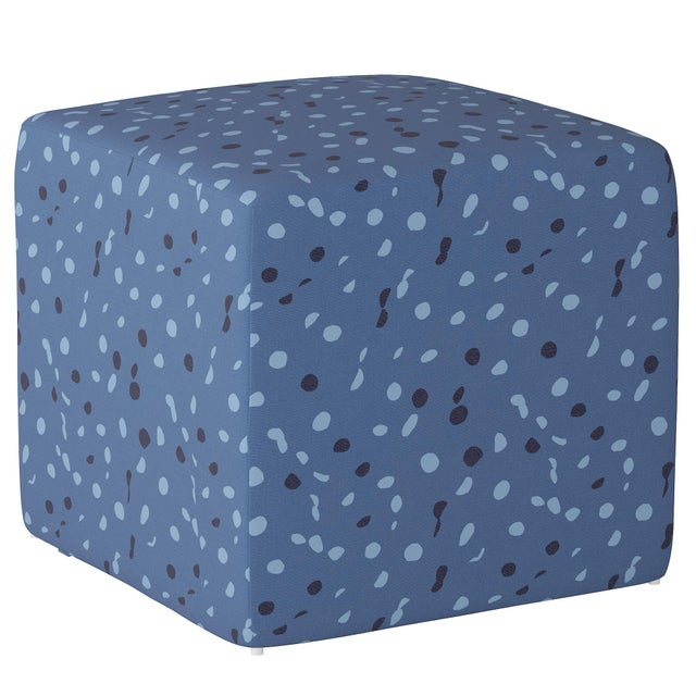Not Yet Made - Made To Order Cube Ottoman in Blue Dot by Angela Chrusciaki Blehm for Chairish For Sale - Image 5 of 5