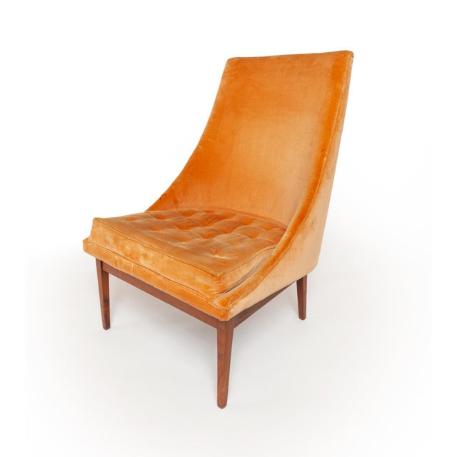 "Orange Vintage Original Lawrence Peabody ""Slipper Chair"" for Richardsons / Nemschoff — Pair For Sale - Image 8 of 12"