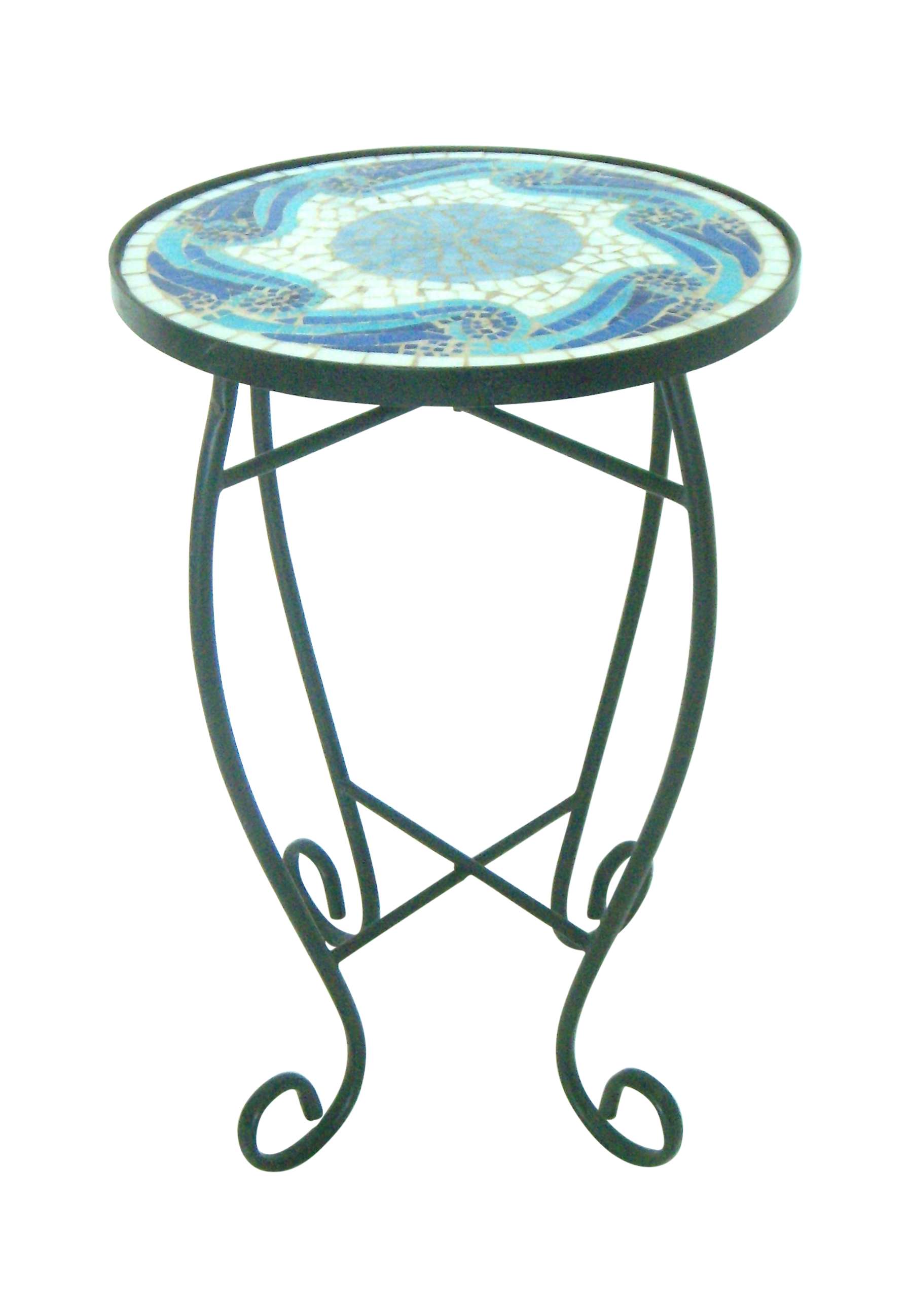 Superieur Black Wrought Iron Side Table W/Blue Mosaic Top For Sale
