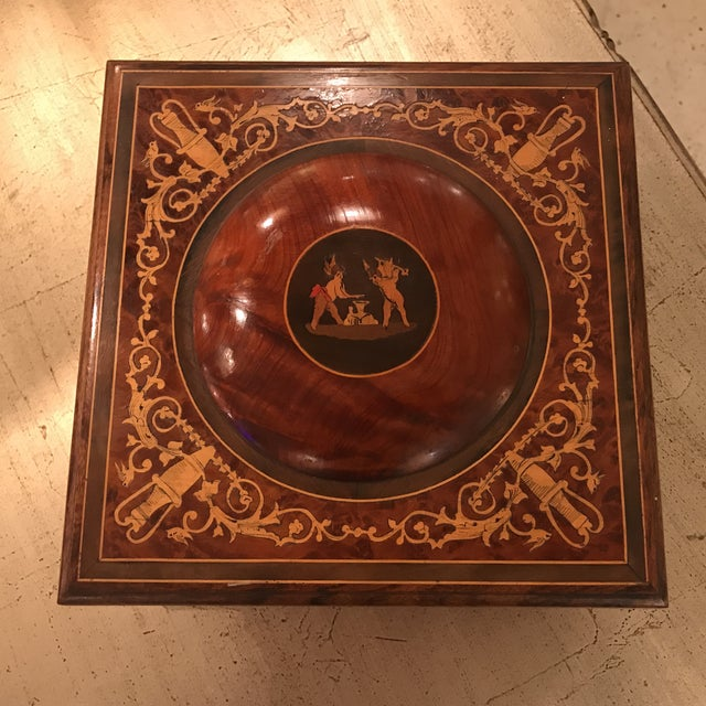 Brown Mid 20th Century Neoclassical Italian Walnut Music Jewelry Box For Sale - Image 8 of 10