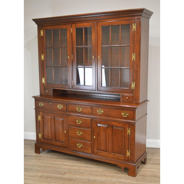 High Quality American Made 2 Piece Buffet Base with Step Back Cupboard Top Dovetailed Drawers and Brass Hardware