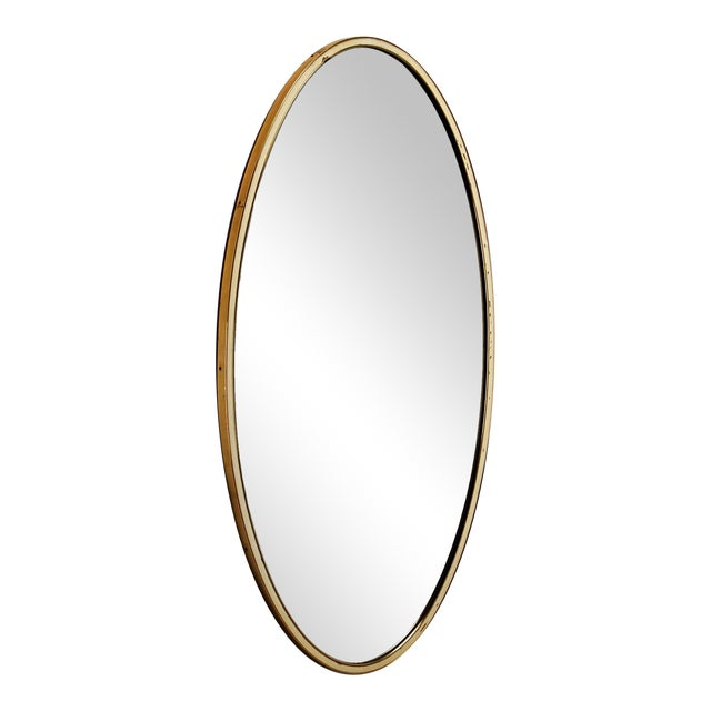 Oval Wall Mirror with Brass Frame and white rim, Germany, 1950s For Sale