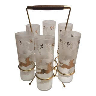 Vintage Mid-Century Highball Glasses With Gold & White Horses & Carrier - Set - 6