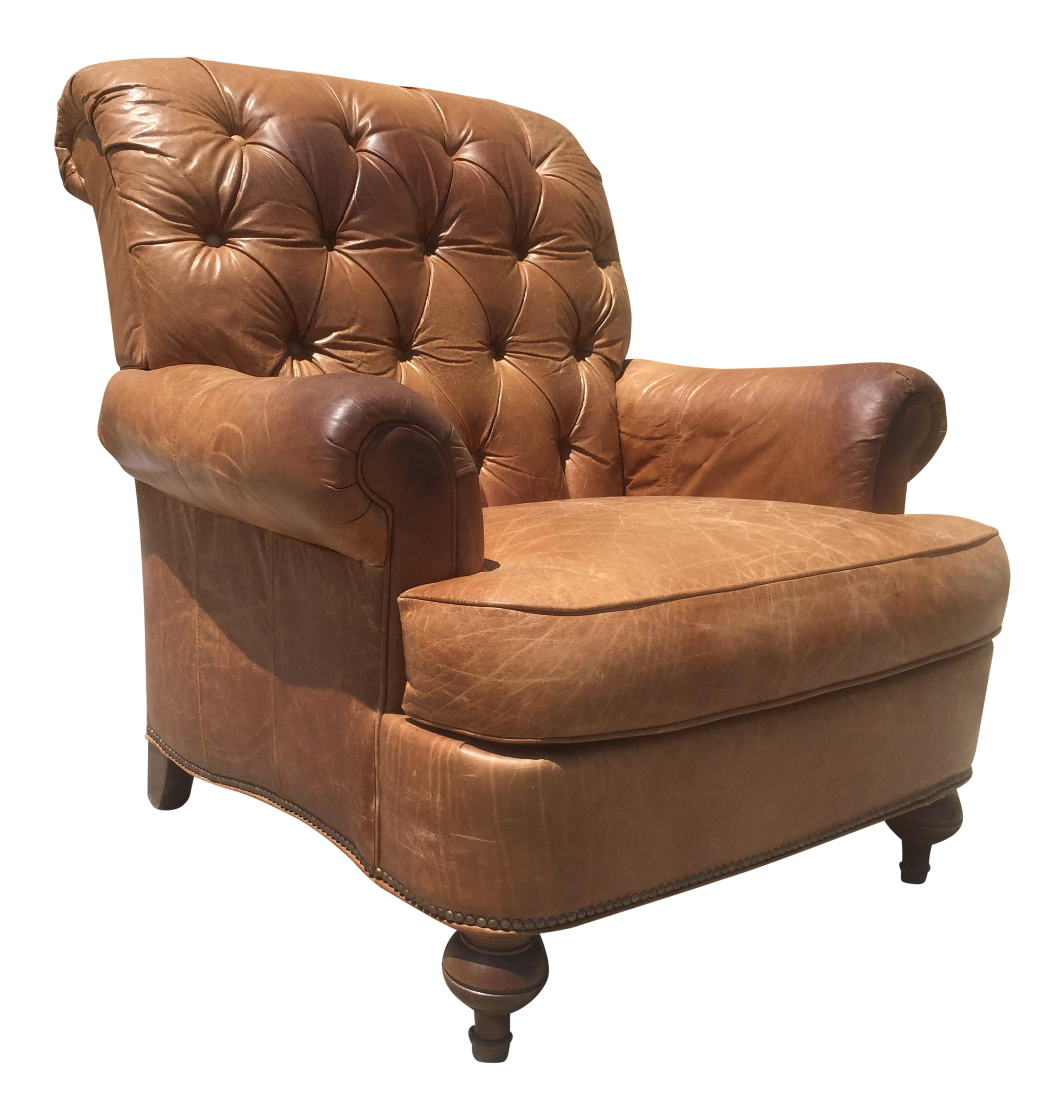 distressed leather club chair distressed tufted leather lounge chair chairish 6786