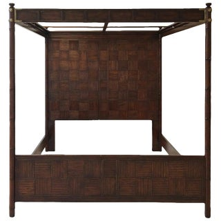 1970s Campaign Henredon Faux Bamboo King Size Canopy Bedframe For Sale