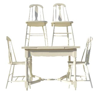 Painted White Farmhouse Dining Set For Sale