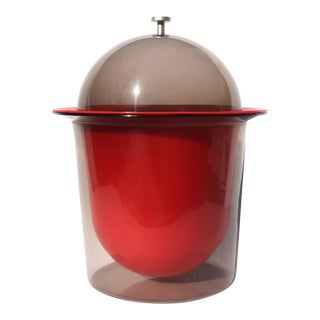 1960s Red & Smoked Acrylic Ice Bucket For Sale