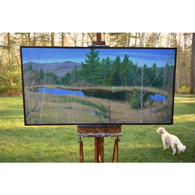 "Large ""Canoe, Pond, and Mountains in Vermont"" Painting by Stephen Remick For Sale - Image 9 of 13"