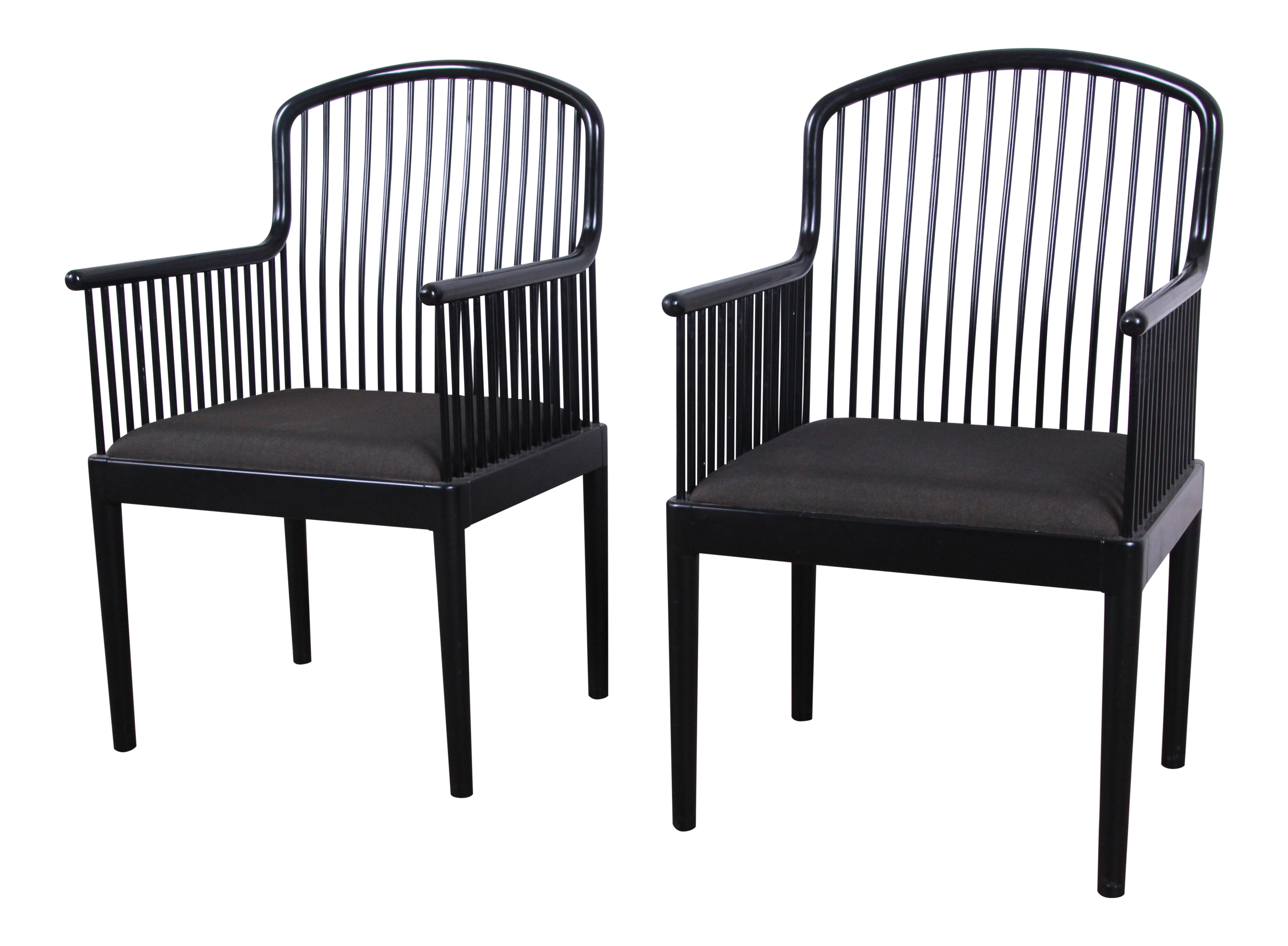 Stendig Andover Black Spindle Armchairs   A Pair