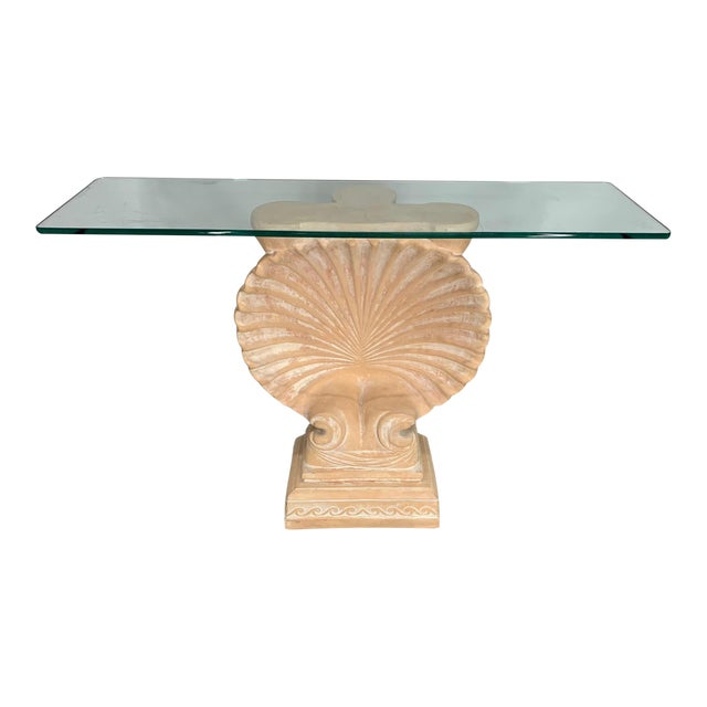 Hollywood Regency Shell Form Console Table After Edward Wormley For Sale