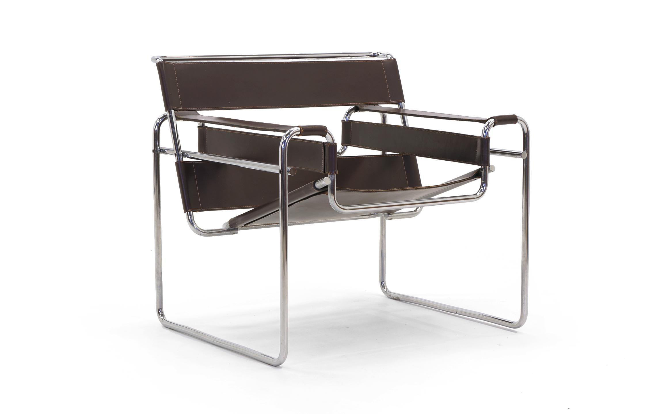 Mid Century Modern Early Original Knoll Gavina Wassily Chair By Marcel  Breuer In Brown Leather