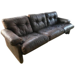 Coronado Three-Seat Sofa in Leather by Tobia Scarpa for B&b, 1960s For Sale