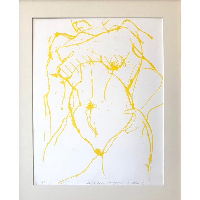 """Vintage, mid century expressionist lithograph of a nude torso in yellow entitled, """"Blonde Betty"""" by Gerard Haggerty. Noted..."""