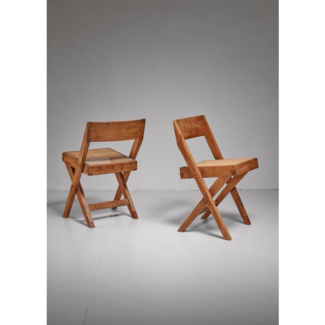Tan Pierre Jeanneret pair of Chandigarh High Court library chairs, 1950s For Sale - Image 8 of 8