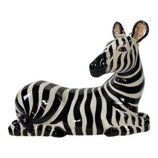 Large Italian Ceramic Zebra Figure For Sale