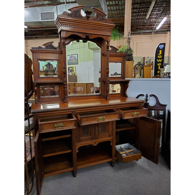 Early 20th Century Antique Hutch With Beveled Mirrors For Sale In Houston - Image 6 of 12