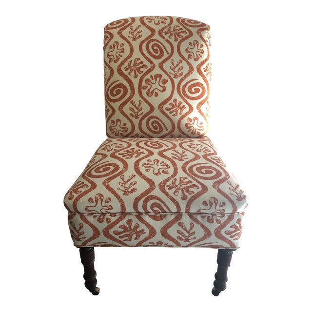 1940s Antique Parlor Chair Newly Reupholstered in Peter Fasano Fabric For Sale