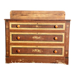 Antique Victorian Country Cottage Hand Painted Chest of Drawers Dresser Commode For Sale