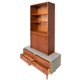 Danish Modern Cabinet With Hutch Teak For Sale